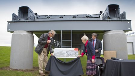 Simon de Lautour (left) and Mrs Ida Beckett (left) unveil the plaque for the Whale, with Mike Becket