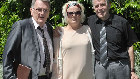 Editor John Elworthy with Ruth Neave and husband Gary Rogers after the meeting with detective superi