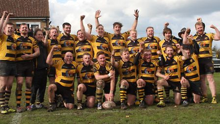 Ely Tigers celebrate their title success. Photo: Steve Wells