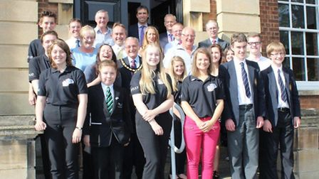 Youth District Council members with Fenland District Councillors and senior officers outside Fenland