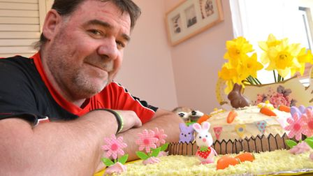 Fen House, Ely, Cake Bake competition, Stephen Goulborn, with his winng cake, 2nd place in Most Crea