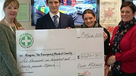 Cheque presentation to Magpas by Irwin Mitchell