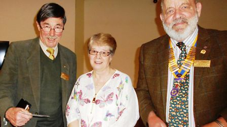 Our picture shows Ann Jiggle with President John Dennick (right) and Vote-of-thanks speaker Ken Jame