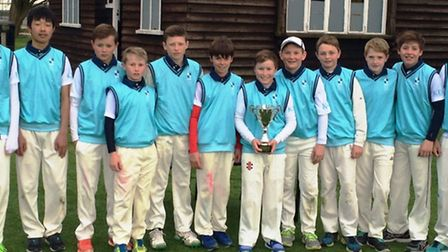 King's Ely U13A cricket team after winning the Witham Hall School Tournament.