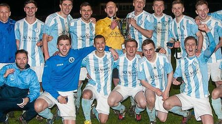 Chatteris Town celebrate their second cup success in a week. Photo: Steve Snell