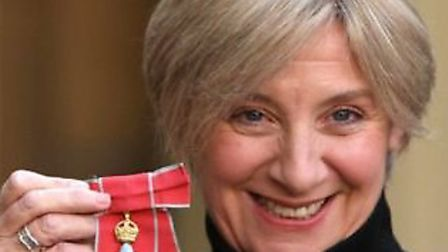 Victoria Wood with her CBE