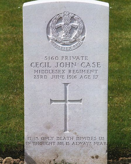 William Case, grave of his son, Somme.