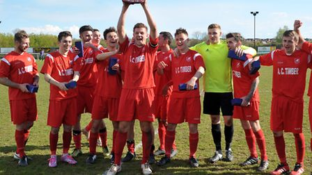 Ely City celebrate their promotion to the Thurlow Nunn Premier Division. Picture: Steve Williams.