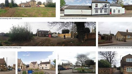 Part of the application by McCarthy & Stone for Whittlesey showing street scene around Bricklayers