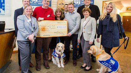 Cheque presentation for £58,000 to the Animal Health Trust, Newmarket, (l-r) Andrew Simmonds, Head o