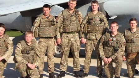Daniel Swain (fourth from left) is taking legal action against the Ministry of Defence.