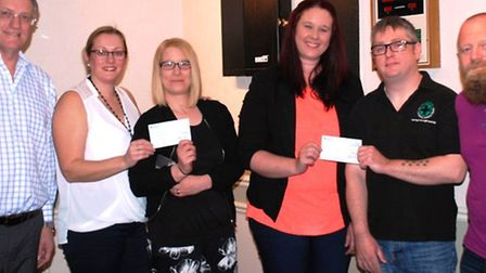 Cheque presentation to Magpas from left: Terry Stevens (manager) Tracey Wilson (Steward) Kelly & Vi