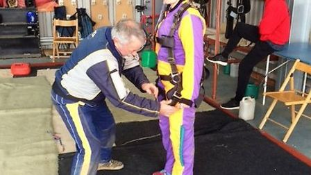 Rachael Forster prepares for her sky dive, which saw her raise £600 for the Isleham Horse and Pony R