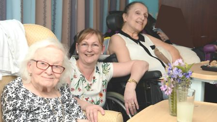 Liz Smith, manager of The Gables in Littleport, with residents Edith and Rosemary.