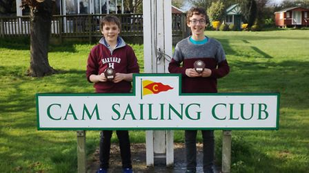 Ely sailors Ted Pepper and Kirk Stamford with their prizes from this year's Cambs Youth League.