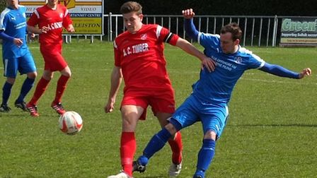 Ely City captain James Seymour in action against Leiston Reserves.