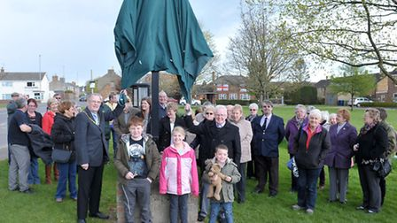 The unveiling of Coates village sign, Sign was unveiled by Derek Bedford with help from Whittlesey M