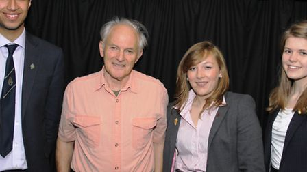 Sir Harry Kroto pictured with lower sixth form students during his visit to Wisbech Grammar School i