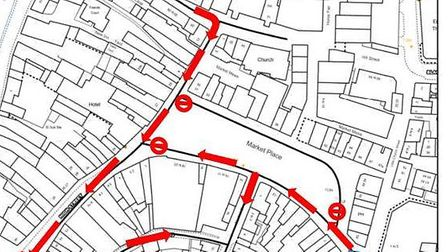 A map of the one way system in Wisbech