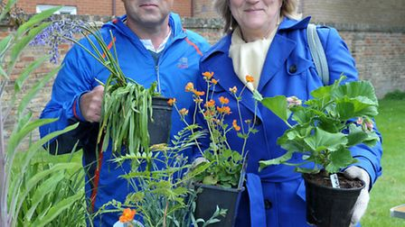 St Peters Church, March. Garden and flower festival. Left Plant seller Paul Roberts and Sharon Blake