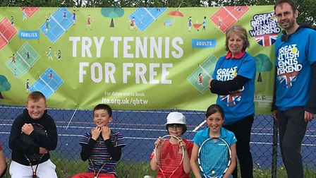 Ely Tennis Club volunteers at the end of a busy day as part of the Great British Tennis Weekend.
