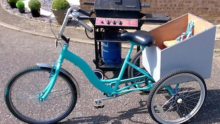 The turquoise tri-cycle that was stolen from a rear garden on Cambridge Road, Ely.