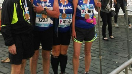 March AC's Tom Orr, Pat Brown, Suzanne Orr and Dawn Veal at the Prague Marathon.