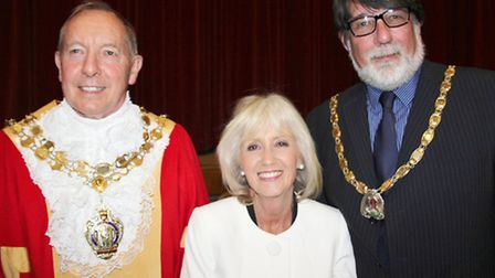 Ely Mayor making. Cllr Ian Lindsay left is the new mayor, outgoing mayor Cllr Lis Every centre and d