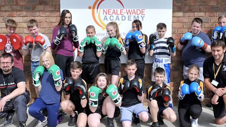 Shona Whitwell and her father and coach, Steve (first right, bottom row), at Neale-Wade Academy's we