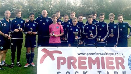 Witchford Colts under 14s Whites celebrate their PST 14A division, under 14 League Cup and under 14