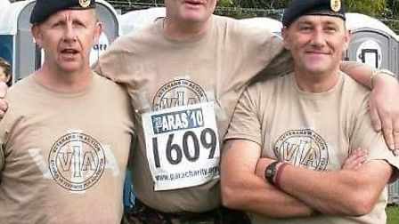 Dave Cole (centre) is raising money for the Veterans In Action appeal by taking part in the Parachut
