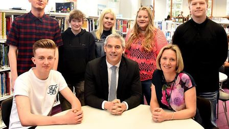 Steve Barclay MP with Cromwell Community College pupils and principal Jane Horn