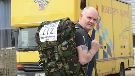 Retired soldier Dave Cole, fundraising for VIA, at his office at Bishops Move, Ely