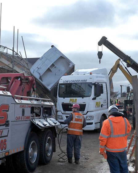 Tipped up Tipper lorry. Recovery. Sanctuary housing, construction site. Gaul road March, Picture: St