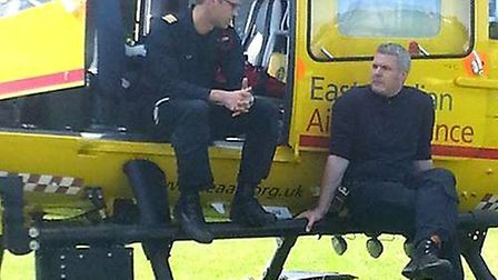 Prince William, working for East Anglian Air Ambulance, delivering a patient to Papworth Hospital. H