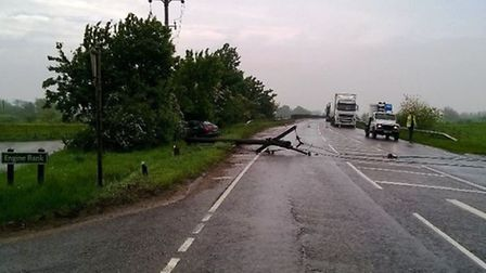 A142 near Chatteris closed after power line comes down in accident