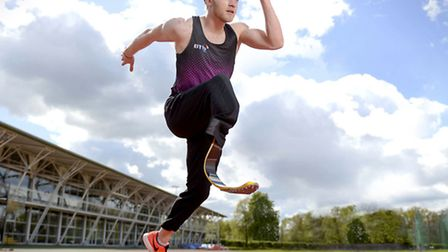 Jonnie Peacock won gold in the final of the T44 100m in the IPC Athletics European Championships. Ph