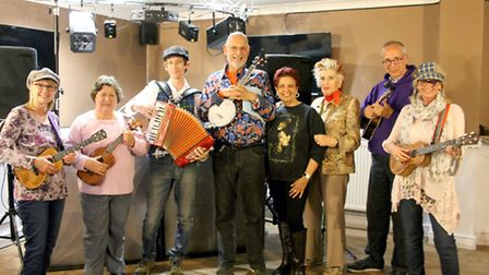 The concert hosted by Squeezerocks and the Rockin Ukuleles which raised £110.64 for Fenprobe Talking