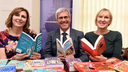 Bulley Davey have donated books from left: Claire Smithee Mitchell Burden and Irene Funnell