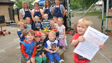 Soham Playgroup, at St Andrews School, Soham, celebrate their good Ofsted, pupils and staff with (f