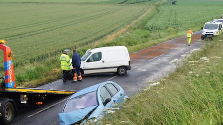 The scene after an accident on Branch Bank, Littleport, yesterday (Monday June 13).