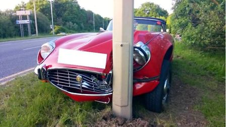 This fully restored 1973 E-Type Jaguar was left looking worse for wear after its owner crashed into