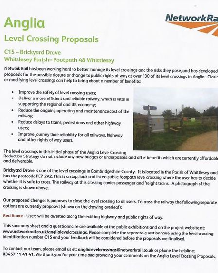 Level crossing affected - Brickyard Drove, Whittlesey