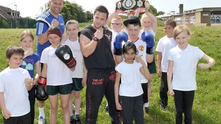 Healthy lifestyle day Orchards Primary School, Wisbech. Steven Cook world champion kick boxer. Pictu
