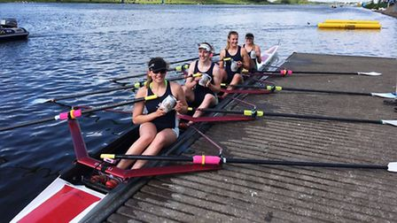 Juniors from the Isle of Ely Rowing Club celebrate their success at the National Schools Regatta.