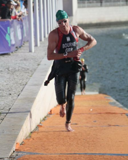 Dunmow's Andy Bourne at the European Age Group Triathlon Championship