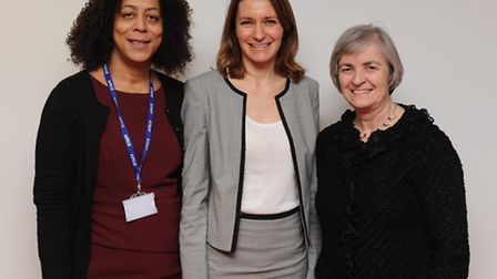 Principal of Ely College Evelyn Forde, Lucy Frazer MP and Tricia Pritchard at Ely College.