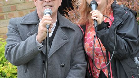 Summer Fete for Catholic Church in St Johns Road March. Back Two singers, Paul Hayward and Sally Ros