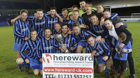 Whittlesey Athletic celebrate winning the PFA Senior Cup for the second successive season. Picture: