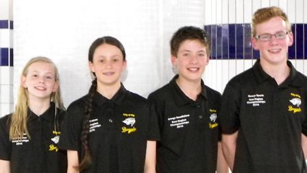 The four swimmers from Ely Barracudas who achieved qualifying times for the East Region Long Course